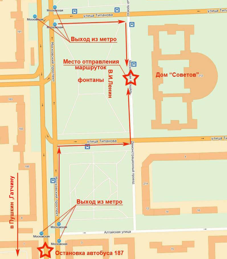 Карта расположения остановок